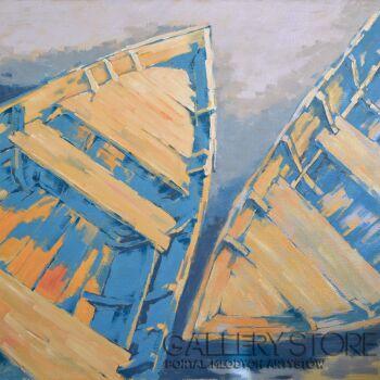 Wiaszesław Rogin-Dwie stare łodzie-Olej