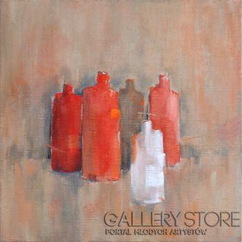 Wiaszesław Rogin-Martwa natura z czerwonymi butelkami-Olej