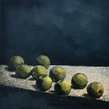 Wiaszesław Rogin-Zieleni jabłka na błękitnym tle-Olej
