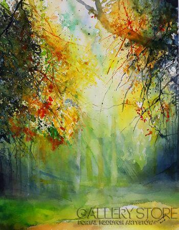 Tomasz Olszewski-Bardzo jesienny las-Akwarela