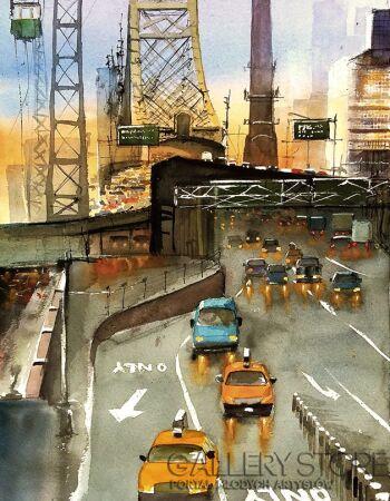Tomasz Olszewski-Nowy York Queensboro Bridge-Akwarela