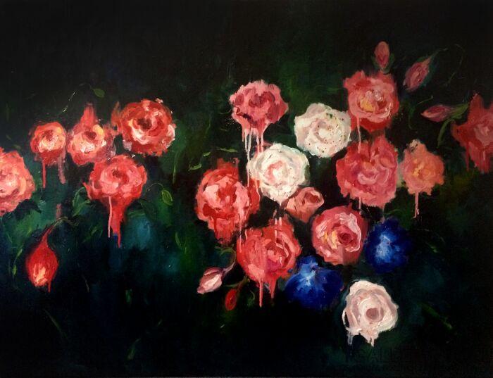 Agnieszka Sukiennik-Impresja -róże-Olej