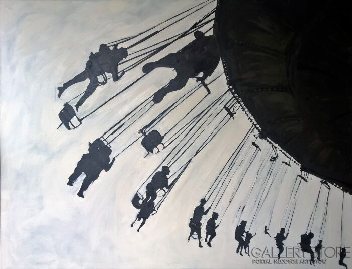 Romuald Mulk Musiolik-Na jasnym niebie-Olej