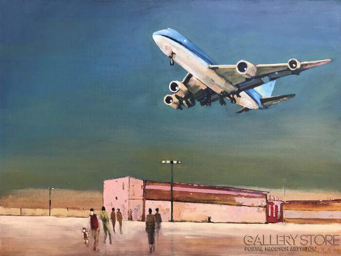 Romuald Mulk Musiolik-Pierwszy lot małego Australijczyka-Olej