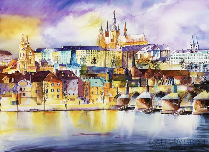 Tomasz Olszewski-Winter Prague by Night-Akwarela