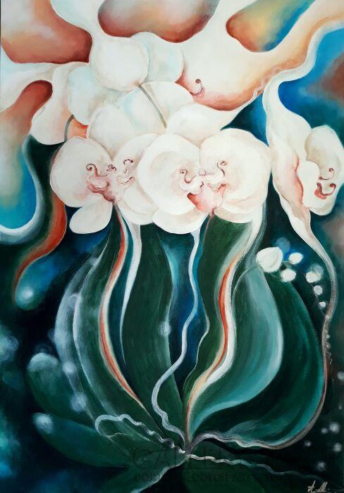 Aleksandra  Michalik-Białe orchidee-Akryl