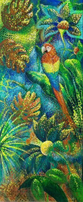 Aleksandra  Michalik-Impresja tropikalna z papugą-Akryl