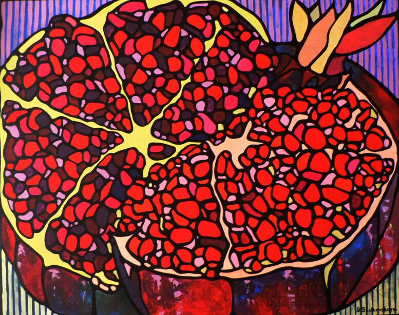 Alexandra Shelkovskaya-Pomegranates-Akryl