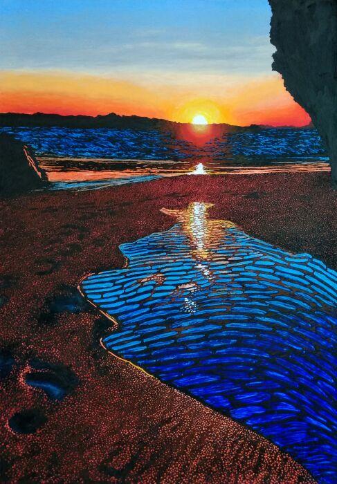 Angelika Mus-Nowak-Odbicie słońca we wspomnieniu niedawnego przypływu-Rysunek