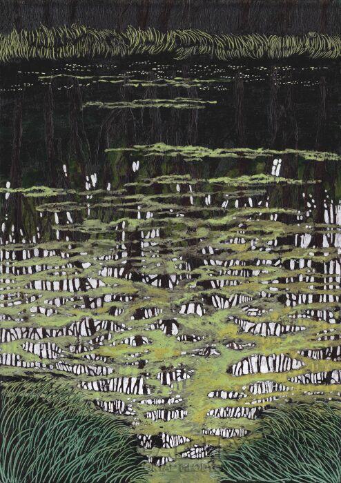 Angelika Mus-Nowak-Pod zielonym kożuchem schowane odbicia drzew-Rysunek