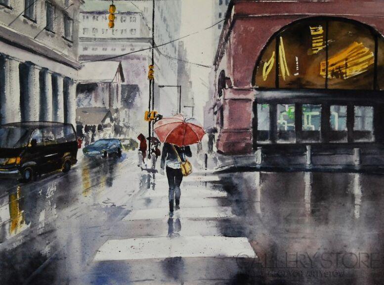 Anna Krzeszowiec-Deszczowy dzień-Akwarela