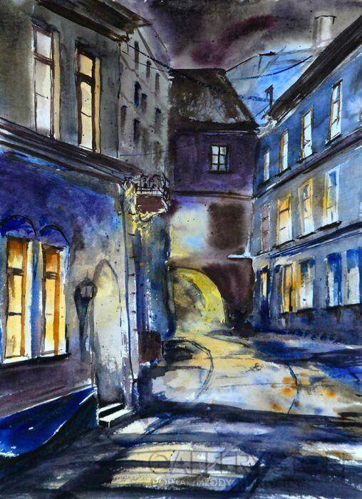 Anna Krzeszowiec-W uliczce...-Akwarela