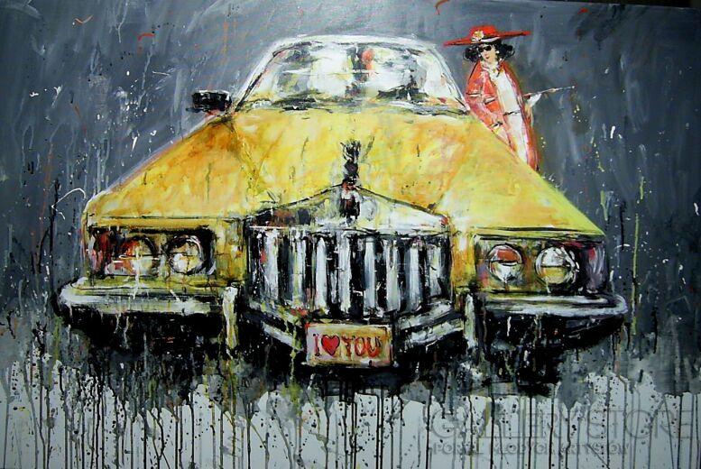 Dariusz Grajek-Dama i auto....-Akryl