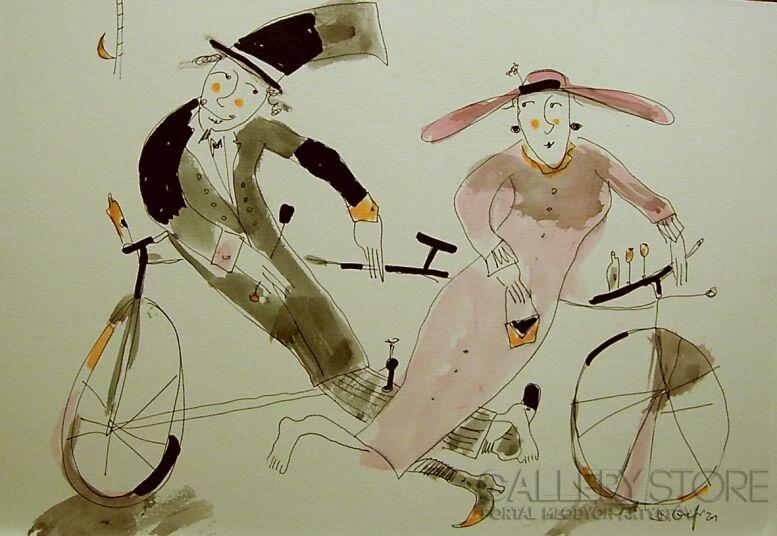 Dariusz Grajek-Dwoje na bicyklu...-Grafika