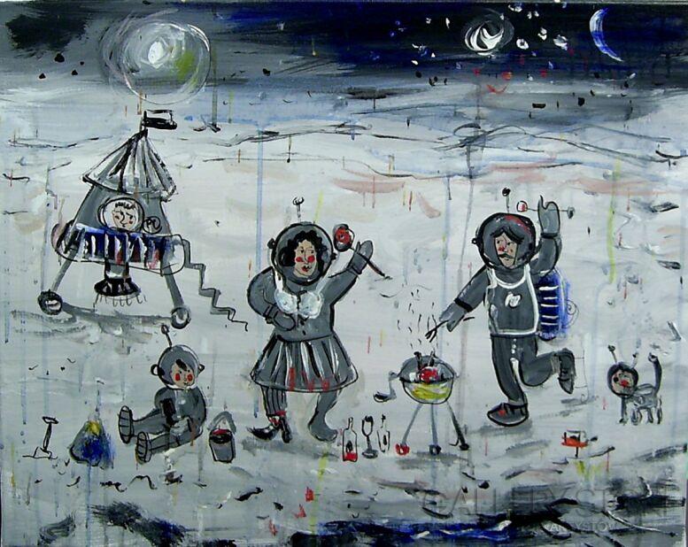 Dariusz Grajek-Kosmos czyli nasi na księżycu.....-Akryl