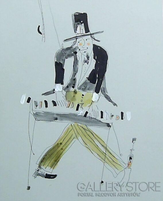 Dariusz Grajek-Uliczny pianista......-Rysunek