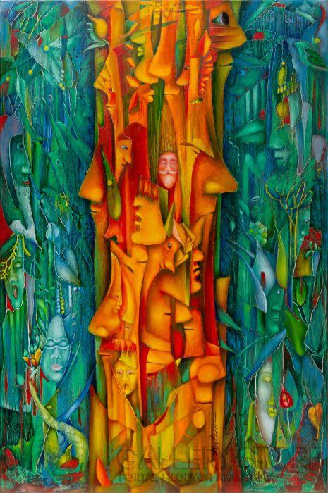 Janina Batko-Wieża Babel Nr.3-Olej