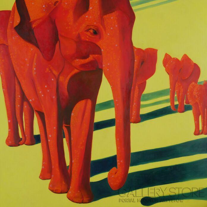 Jolanta Kitowska-Czerwone słonie z Tsavo 2-Olej