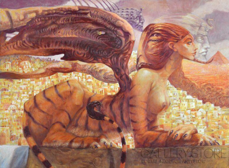 Krzysztof  Krawiec-Sfinks Tygrysi-Akryl