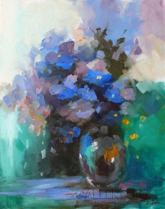 Krzysztof Tracz-Niebieskie kwiaty-Olej