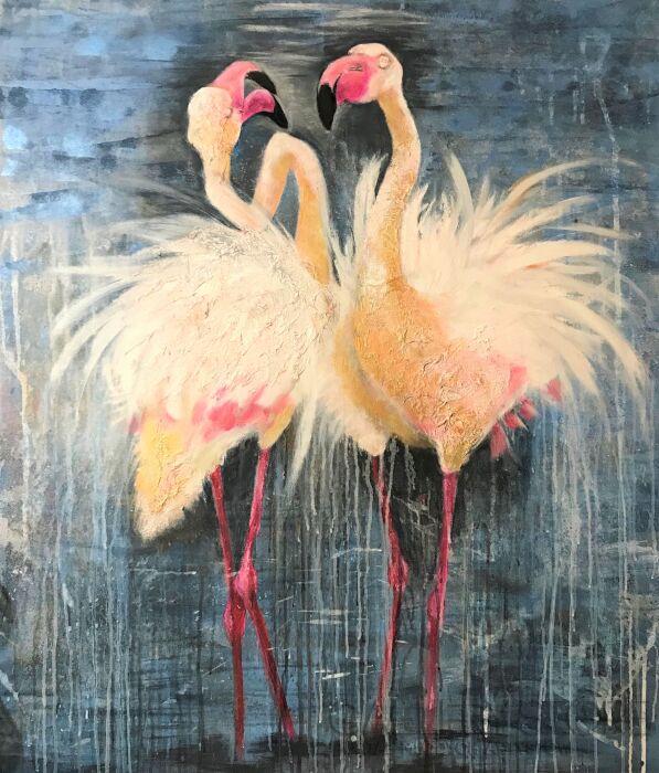 Monika Kargol-Flamingi-Technika mieszana