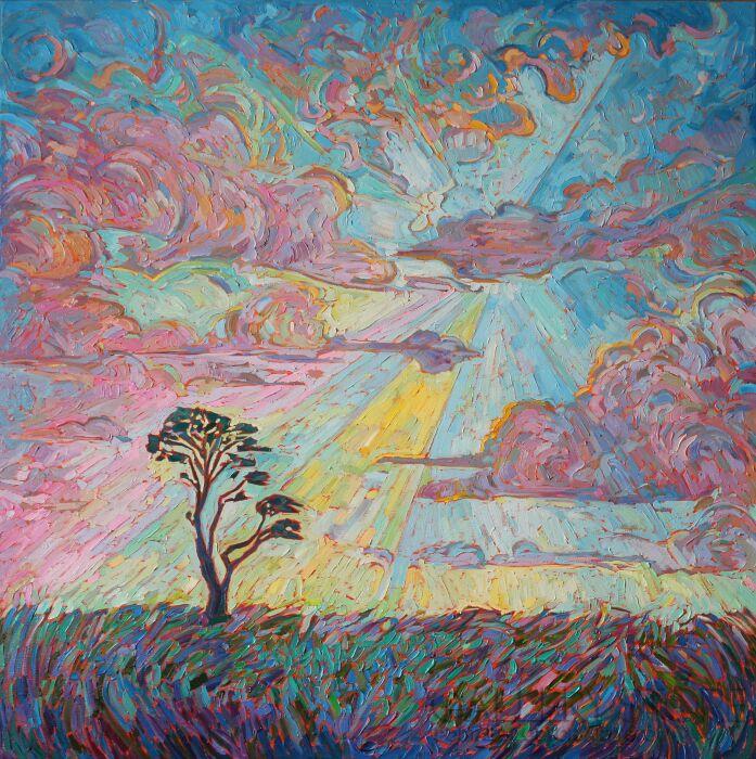 Monika Siwiec-Flushed sky-Olej