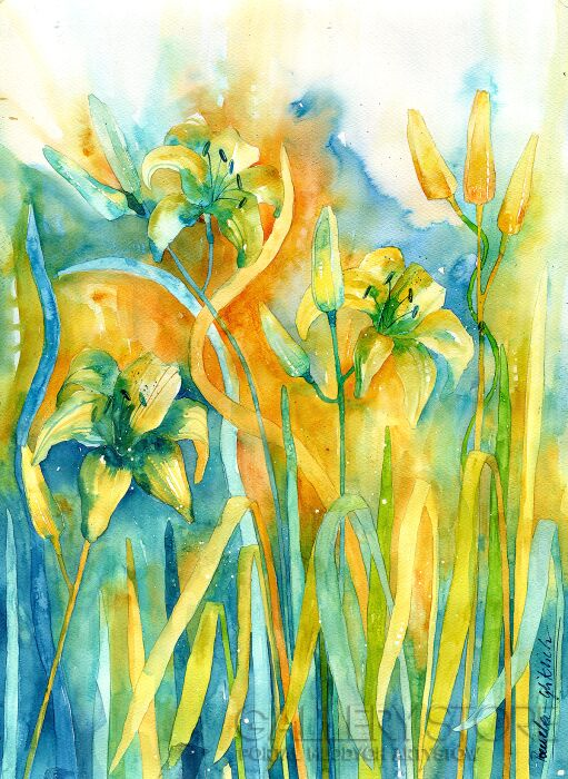 Pracownia Aquarelle Klaudia Pawelec-Gliklich-Błękitna lilia -Akwarela