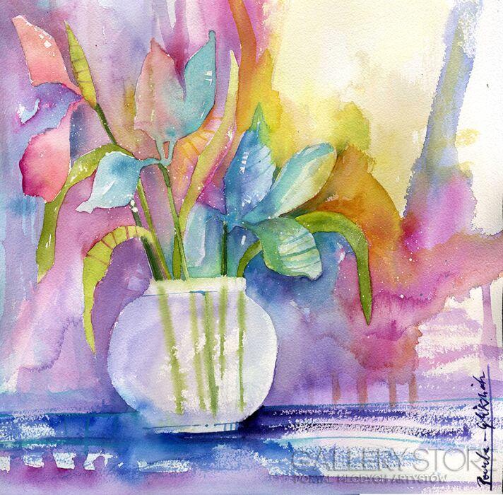 Pracownia Aquarelle Klaudia Pawelec-Gliklich-Kwiaty w dzbanie -Akwarela