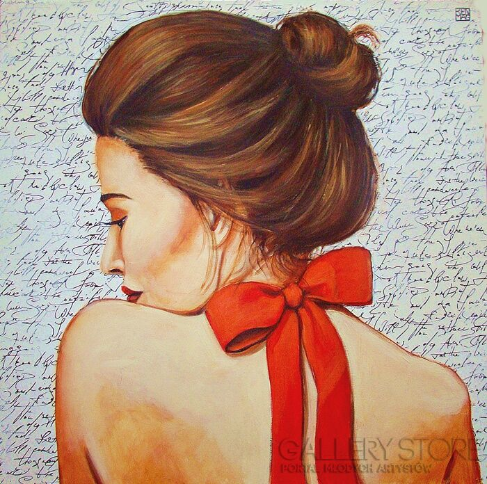 Renata Magda-red ribbon -Olej