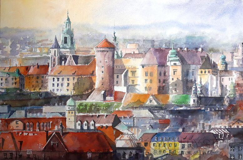 Tomasz Olszewski-Kraków zadymiony-Akwarela