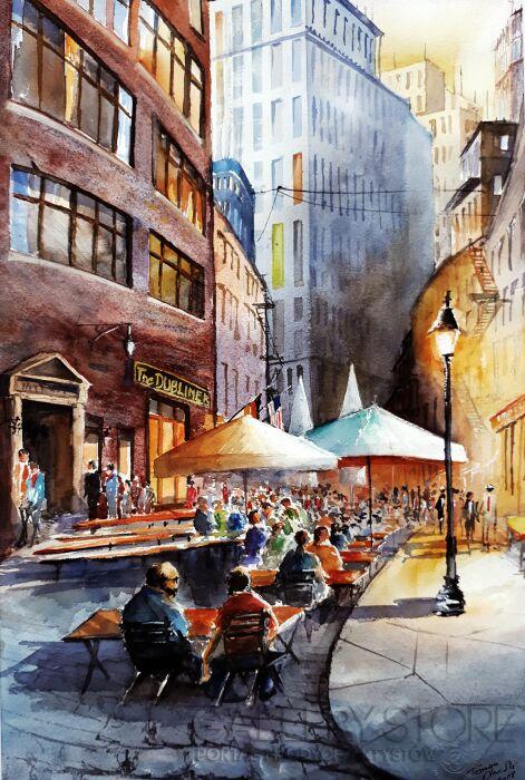 Tomasz Olszewski-Nowy York. Deptak-Akwarela