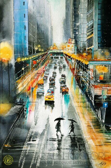 Tomasz Olszewski-Nowy York - światła wielkiego miasta-Akwarela