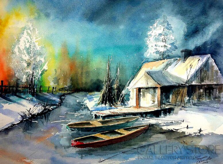Tomasz Olszewski-Rybakówka zimą-Akwarela