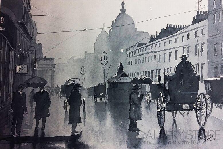Tomasz Olszewski-Deszczowy Londyn-Akwarela