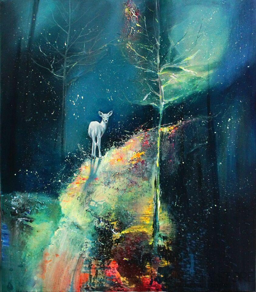 Eliza Kleczewska-Biały jeleń-Akryl