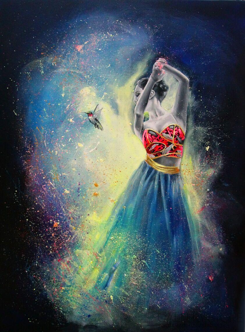 Eliza Kleczewska-Tańcząca z kolibrem-Akryl