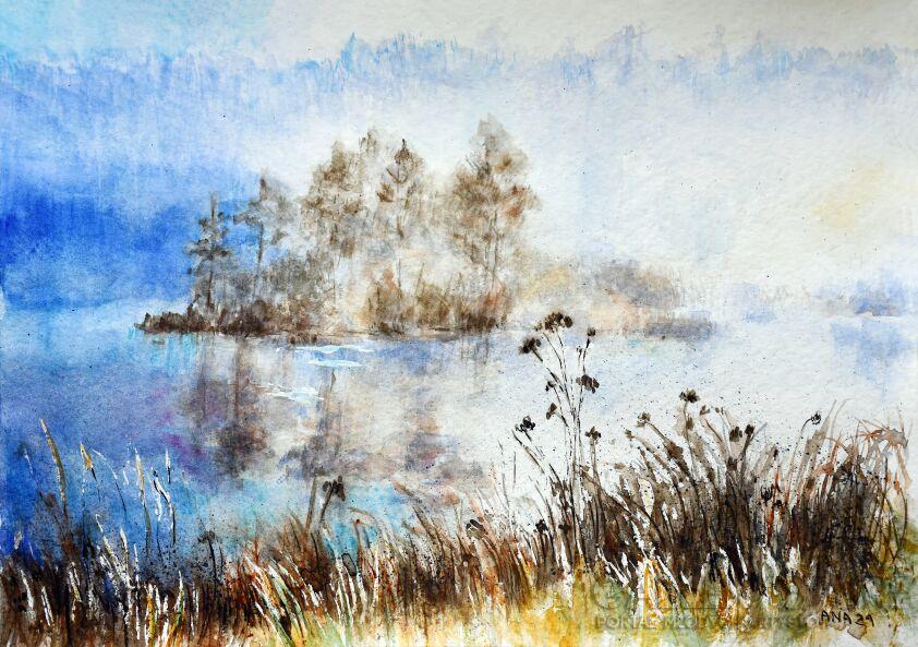Jola Smarż-Mgły nad jeziorem-Akwarela