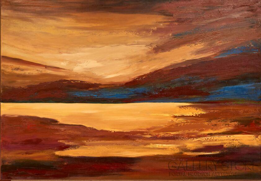 Małgorzata Burcicka-Kozieł-Złoty zachód słońca-Olej